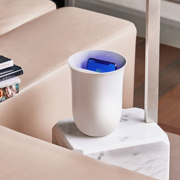 wireless charging station with UV phone sanitizer