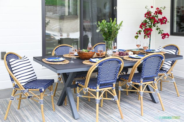 Outdoor patio dining table with bistro chairs