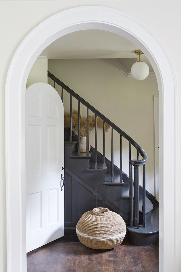 black stair railing and steps