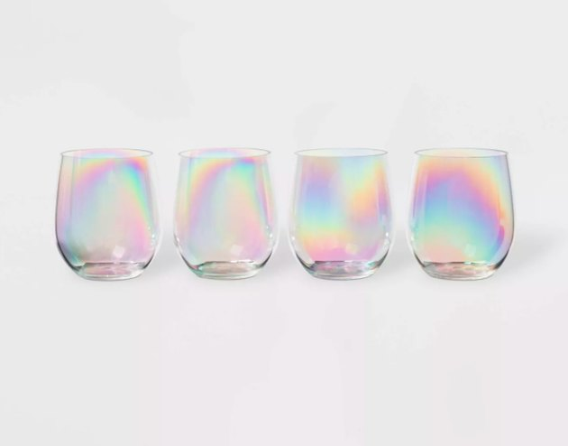 Sun Squad Iridescent Plastic Wine Glasses, $7.99