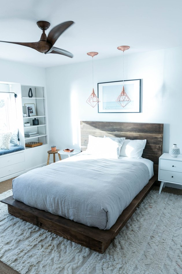 rustic platform bed and headboard
