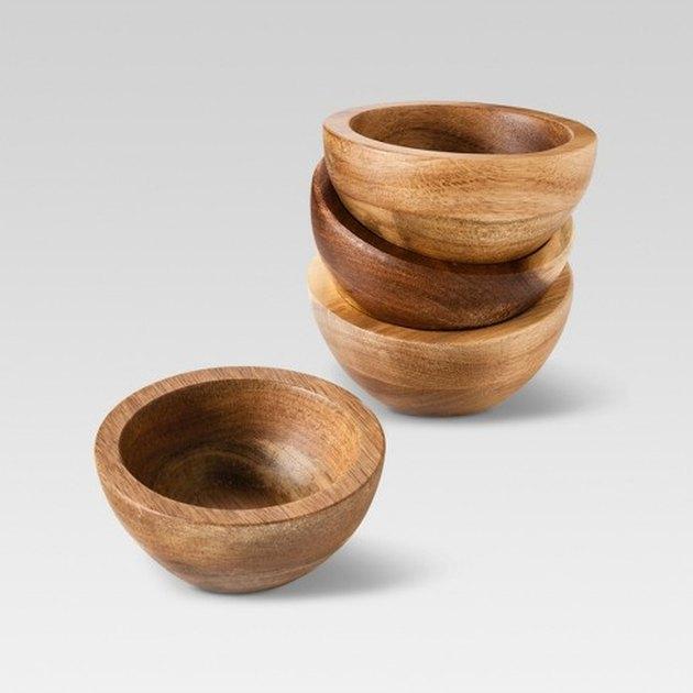 acacia wood dip bowls