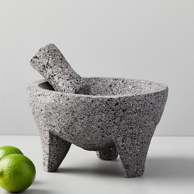 molcajete set with mortar and pestle made from volcanic rock