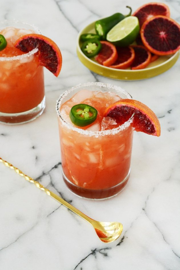 spicy blood orange margarita mocktail