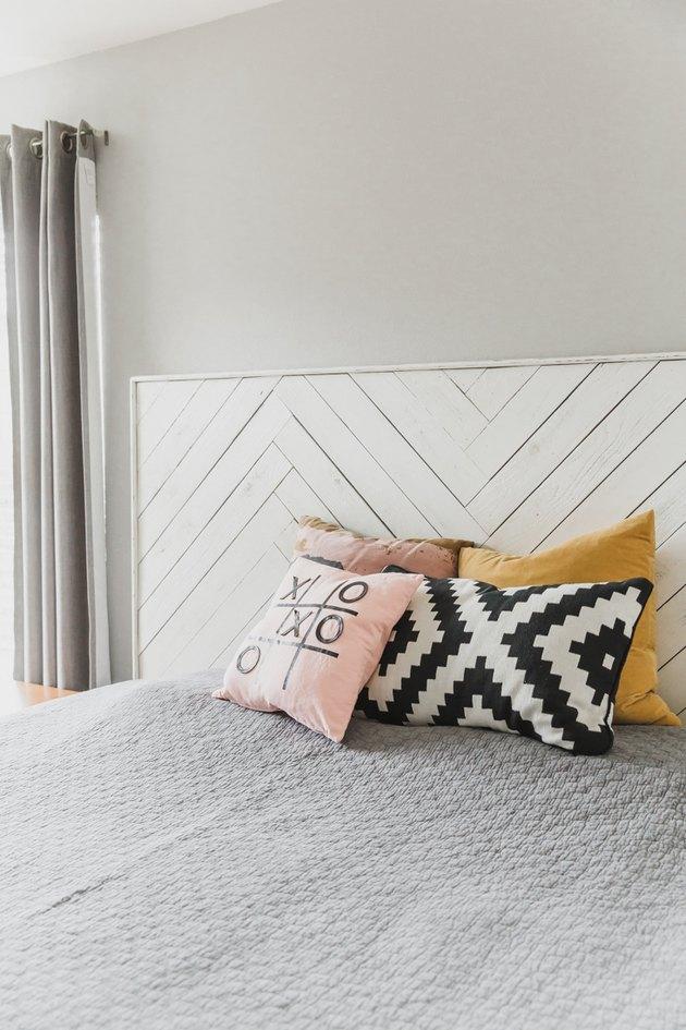 white DIY rustic headboard idea in bedroom