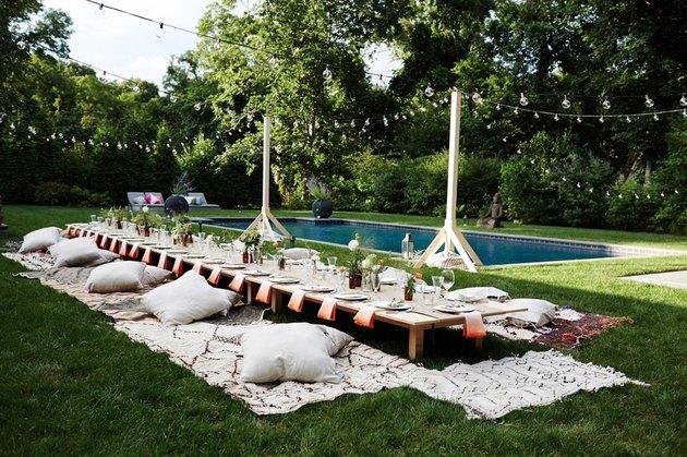 Moroccan inspired garden party setup