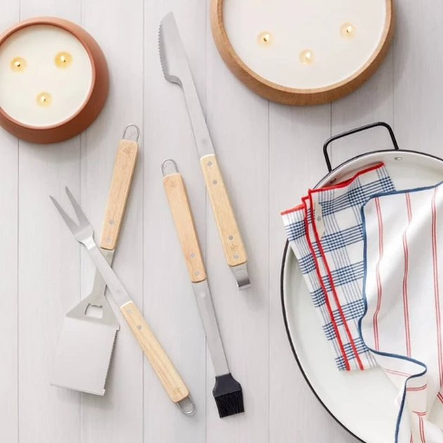 kitchen towels with cooking utensils