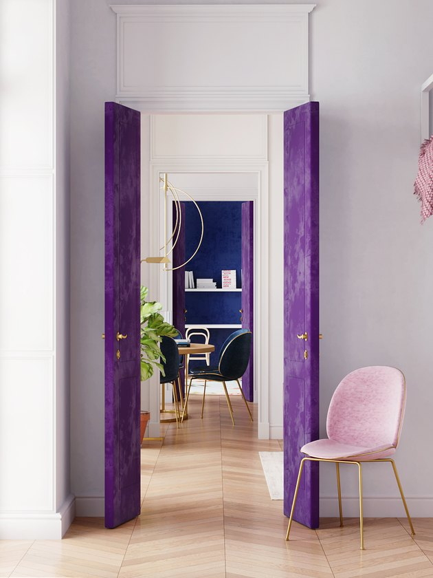 colors that go with purple, blue doors and dining chairs