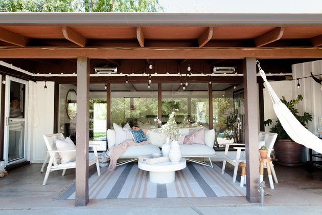 The back patio with the long slung ranch style roof.