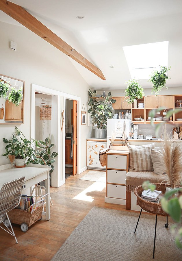 Bohemian living room and kitchen with plants