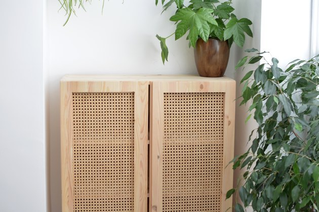 Cane-front IKEA cabinet hack DIY bathroom idea