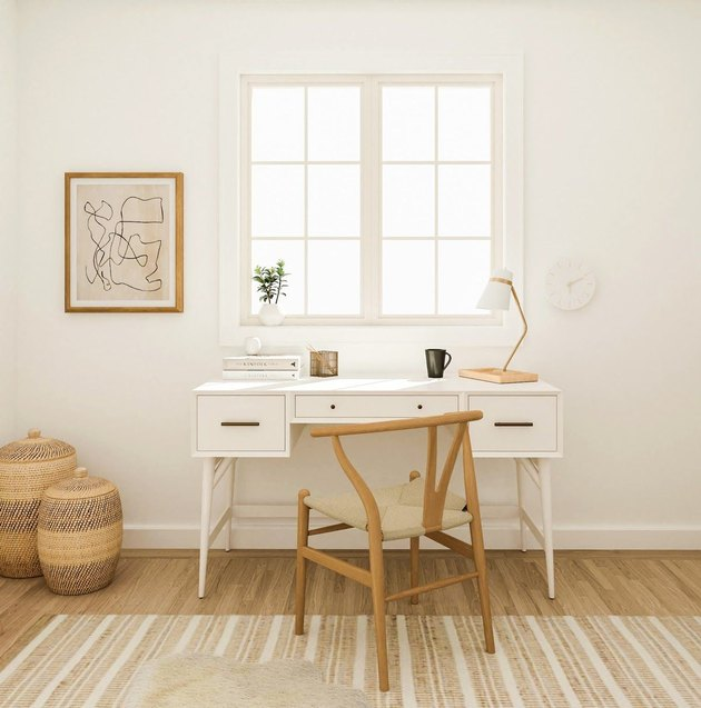 White and wood minimal home office space