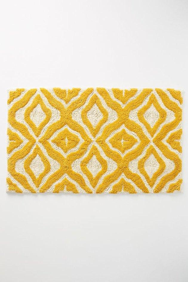 yellow patterened bath mat