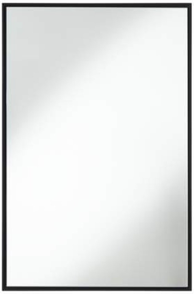 Large rectangular mirror with thin black frame