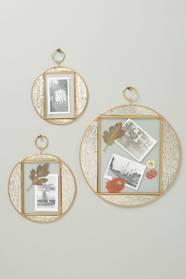 three round frames on a wall