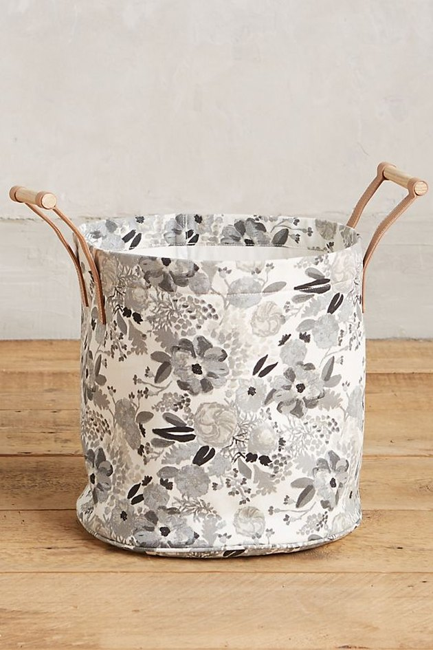 black and white floral patterned laundry hamper