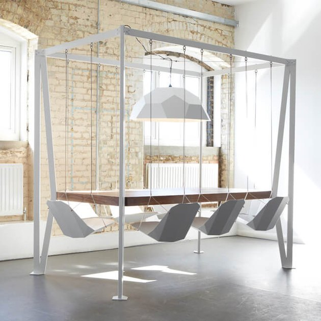 white swing table with swing chairs