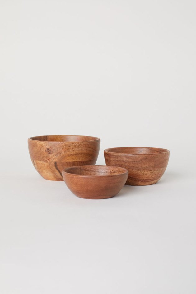3-pack wooden bowls
