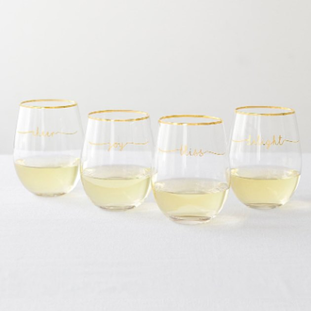 set of four stemless wine glasses