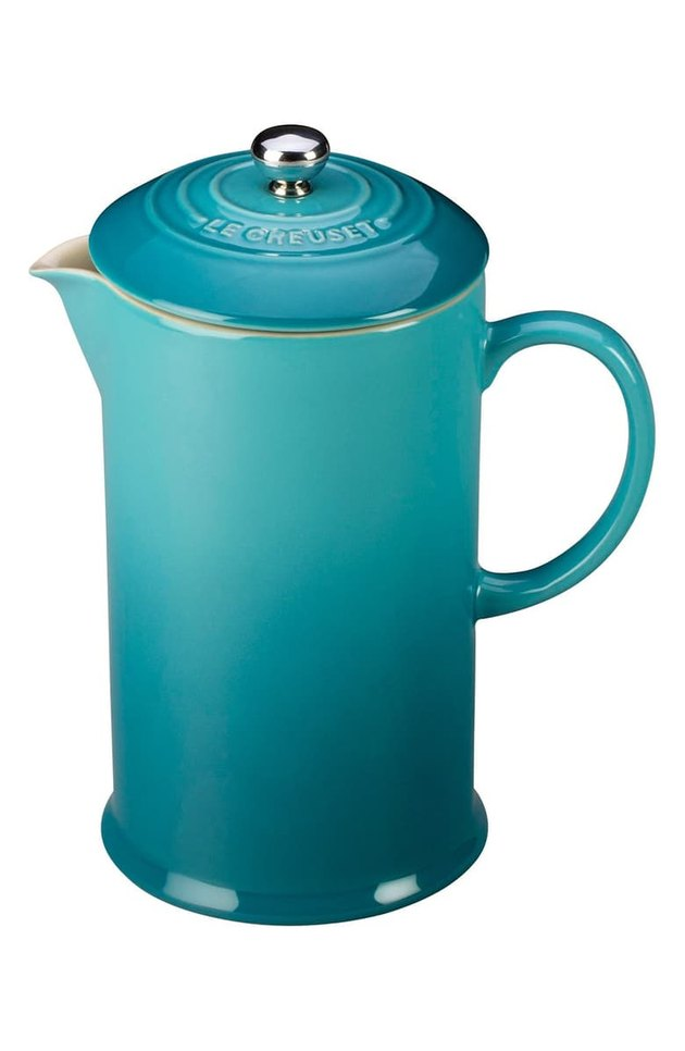 blue stoneware french press