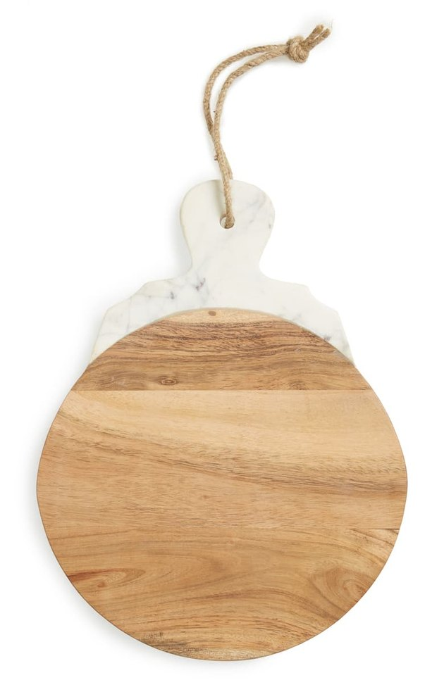 marble and wood round tray