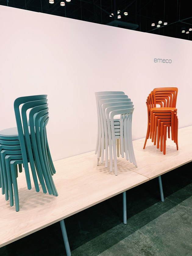 colorful stacking chairs by Emeco at ICFF 2019