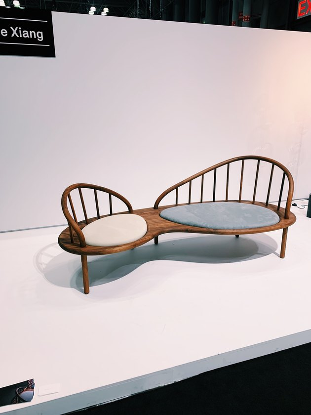 curved bench with wooden frame by Christine Xiang at ICFF 2019