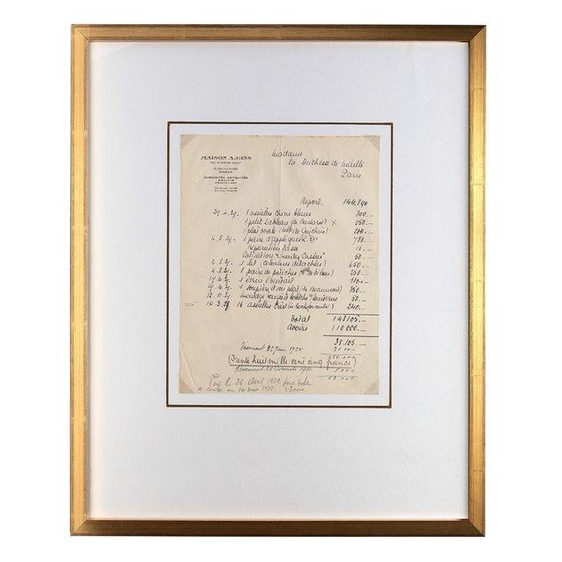 Vintage framed receipt