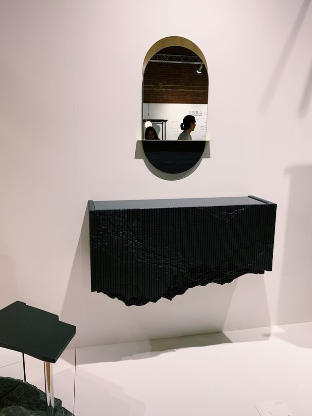 floating console cabinet with carved detailing by Simon Johns Design at Wanted Design 2019