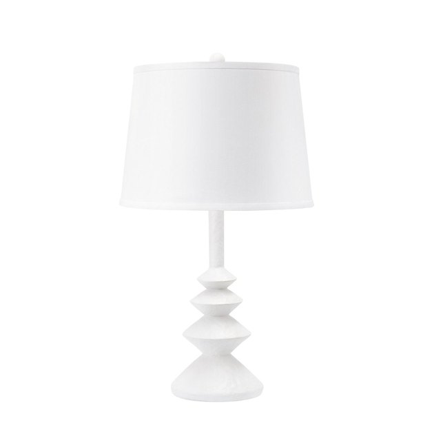 White geometric table lamp from Bungalow 5