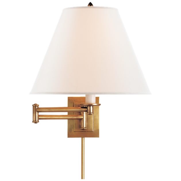 Brass wall sconce with white lampshade