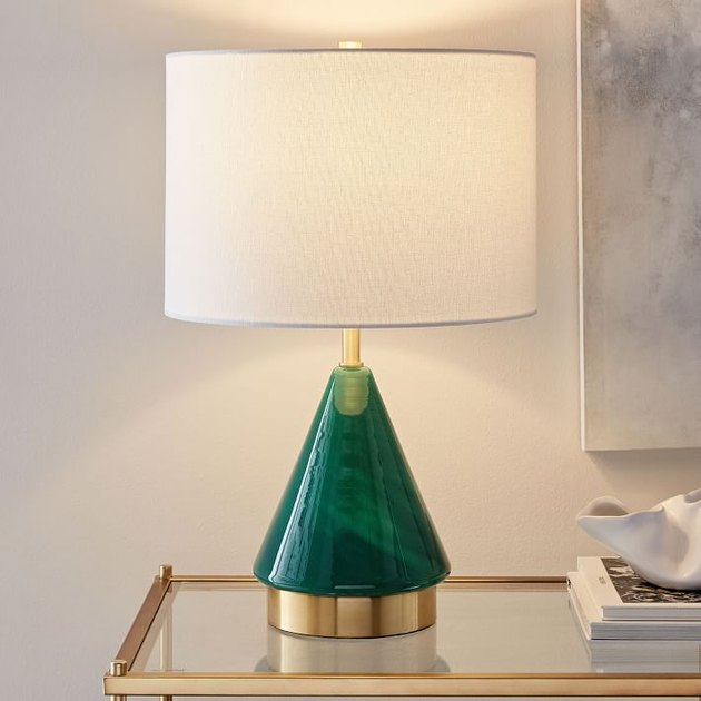 West Elm Green Metalized Glass Table Lamp