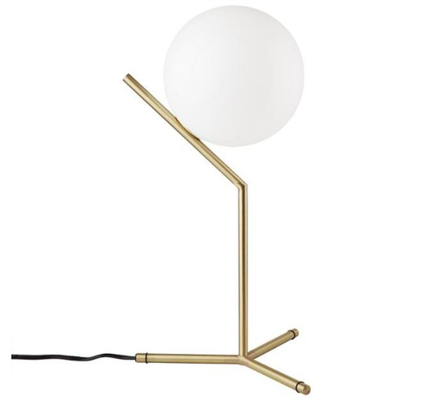 France & Son High Brass Ball Table Lamp