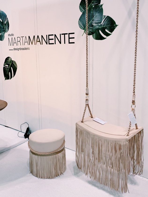 hanging chair with fringe tassel and ottoman with fringe tassel by Studio Marta Manente Design at ICFF 2019