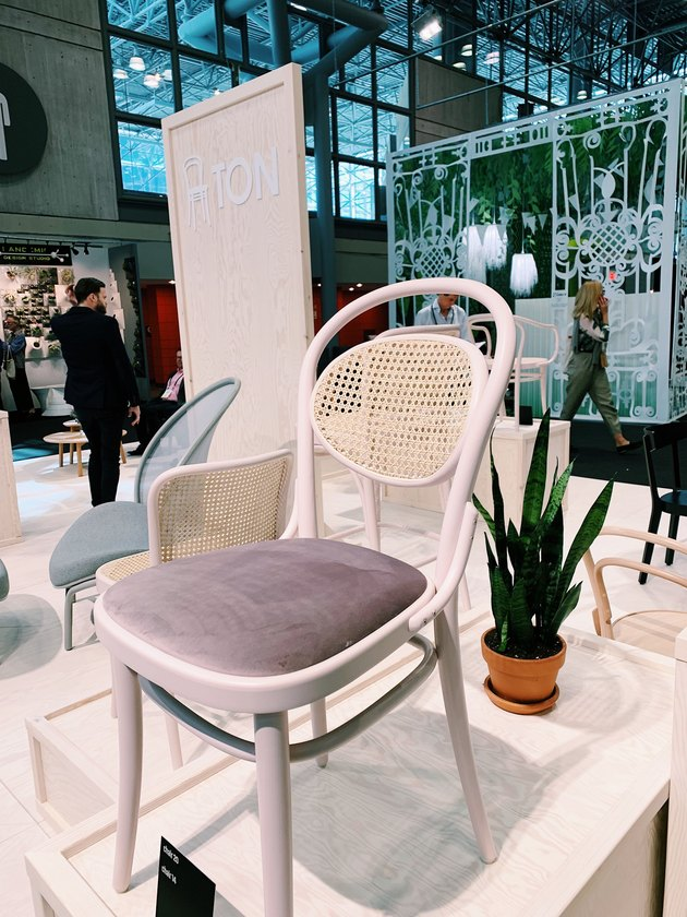 TON chair with velvet seat and cane back at ICFF 2019