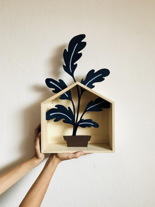 person holding a wood plant in a shelf