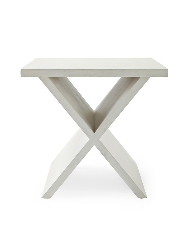 White side table with X-shaped legs