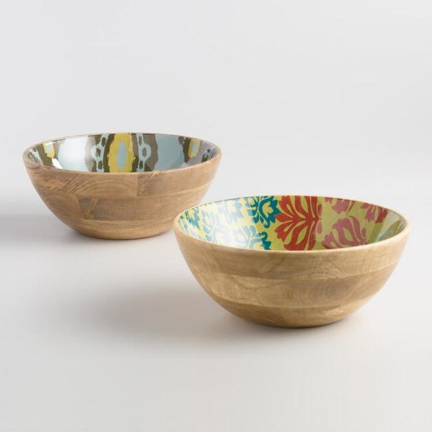 two enamel wood bowls