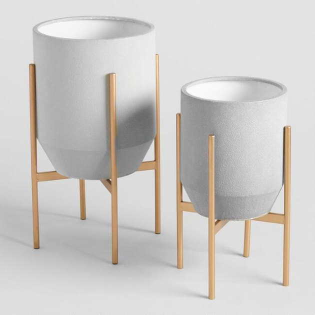 two gray planters
