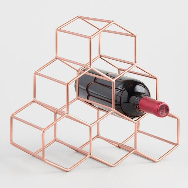 copper hexagon-shaped bottle rack