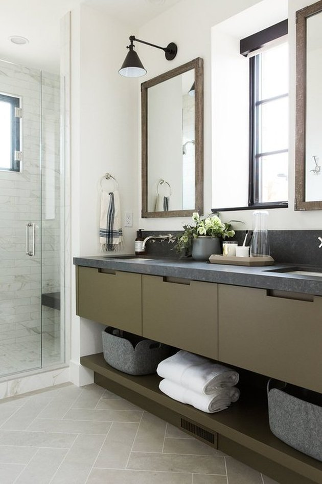 olive and grey bathroom vanity idea