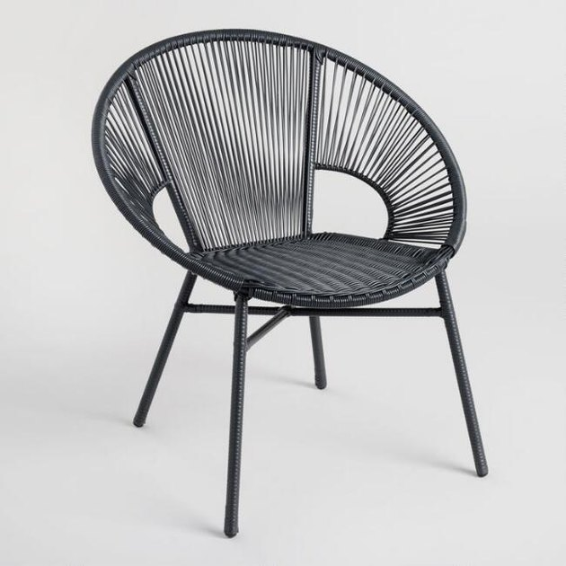 black wicker outdoor chair