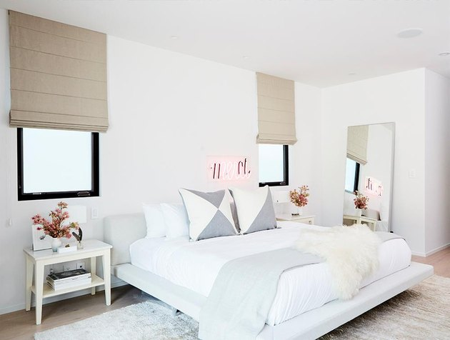 neon sign in modern minimalist bedroom