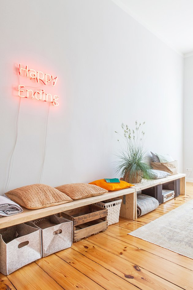 living room with neon sign