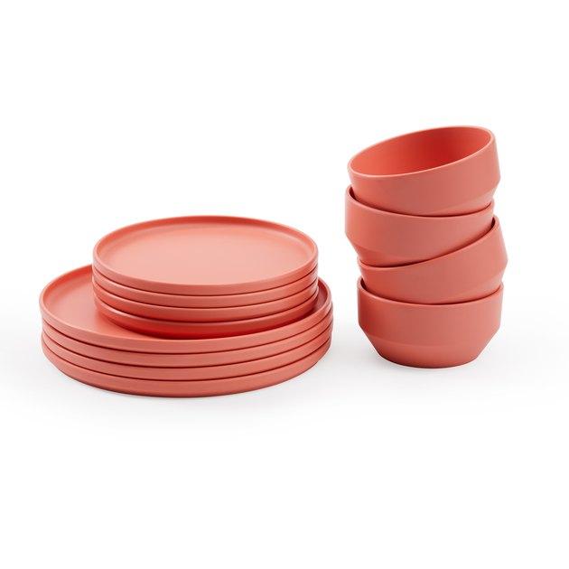 salmon colored dinnerware