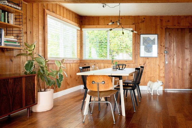 wooden blinds window treatments in wooden dining room