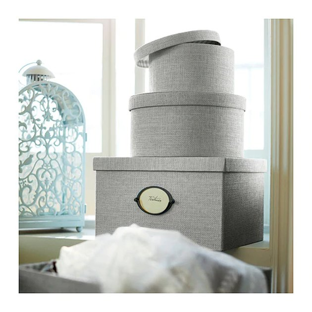 bedroom storage idea with IKEA storage boxes
