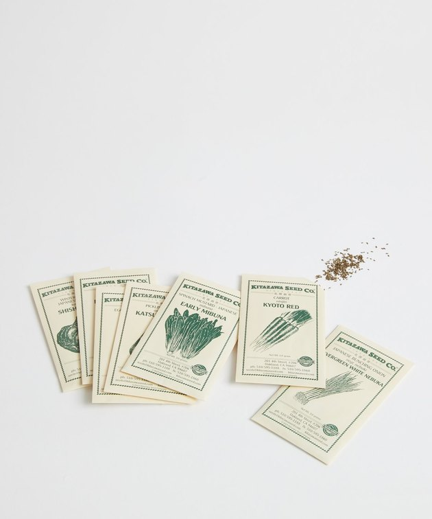 five envelopes of seeds