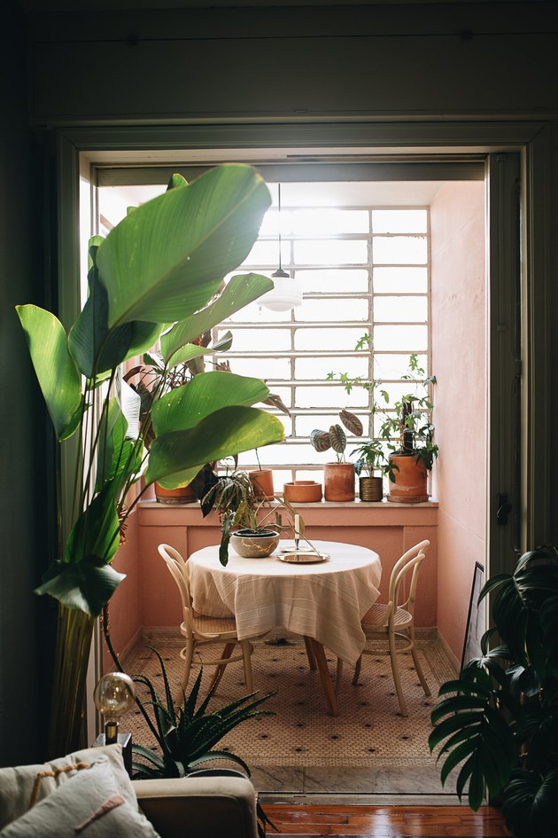 pink dining room with bistro table and chairs and potted plants