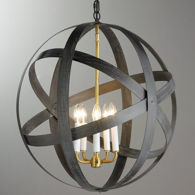 Rustic metal strap globe lantern from Shades of Light for rustic bedroom idea